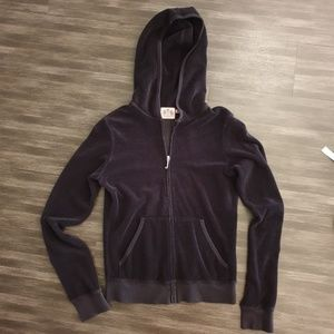 Juicy Couture Black terry Hood zip up jacket small